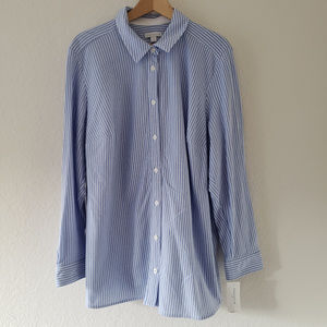 Charter Club Button Down Knit Polo Plus Sz 3X Blue